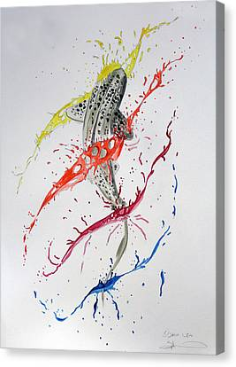Leopard Shark Splash 01 Canvas Print by Sam Lea