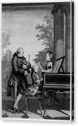Leopold Mozart And His Two Children Canvas Print by Louis Carrogis Carmontelle
