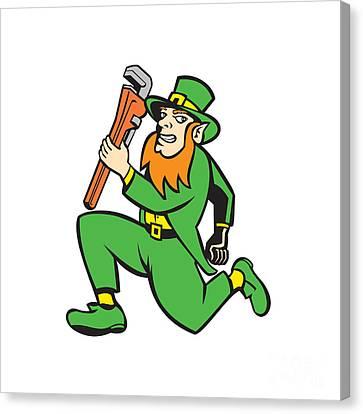 Leprechaun Plumber Wrench Running Retro Canvas Print by Aloysius Patrimonio