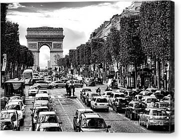 Arc De Triomphe Canvas Print - Les Champs Elysees  by Olivier Le Queinec