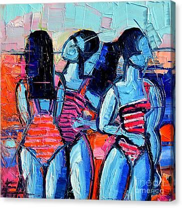 Les Demoiselles De Deauville Canvas Print by Mona Edulesco