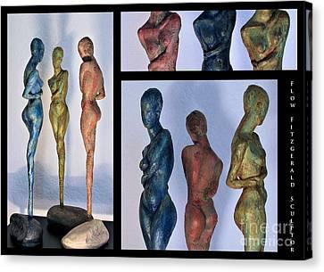 Les Filles De L'asse 1 Triptic Collage Canvas Print by Flow Fitzgerald
