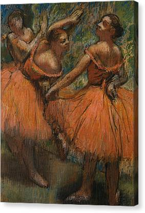 Girl Studying Canvas Print - Les Jupes Rouge by Edgar Degas