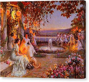 Canvas Print featuring the painting Les Lampions   by Delphin Enjolras