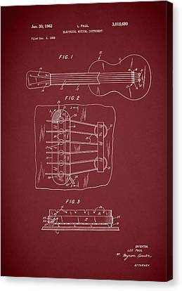 Gibson Guitar Canvas Print - Les Paul Guitar Patent 1962 by Mark Rogan