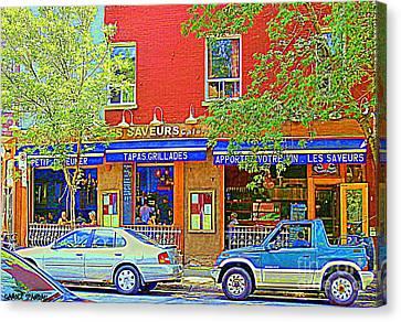 Les Saveurs Tapas Grillades Apportez Votre Vin Montreal Cafe Art Scene By Carole Spandau Canvas Print by Carole Spandau
