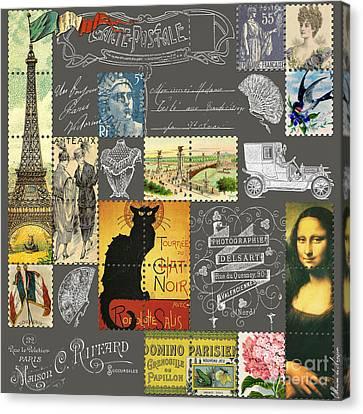 Typographic Canvas Print - Les Timbres 3 by Marion De Lauzun
