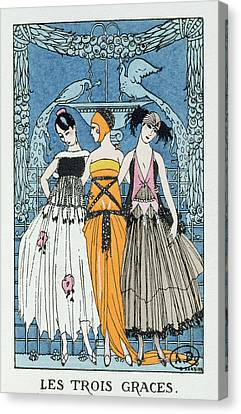 Les Trois Graces Canvas Print by Georges Barbier
