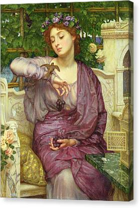 Lesbia And Her Sparrow Canvas Print by Sir Edward John Poynter