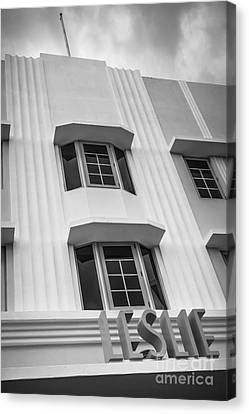 Leslie Hotel South Beach Miami Art Deco Detail 2 - Black And White Canvas Print by Ian Monk