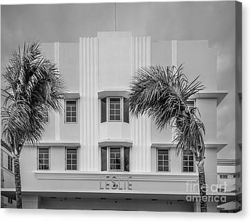 Leslie Hotel South Beach Miami Art Deco Detail 3 - Black And White Canvas Print by Ian Monk