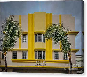 Leslie Hotel South Beach Miami Art Deco Detail 3 - Hdr Style Canvas Print by Ian Monk