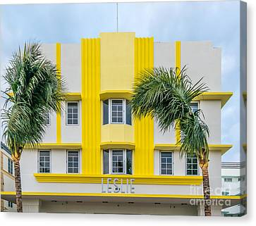 Leslie Hotel South Beach Miami Art Deco Detail 3 Canvas Print by Ian Monk