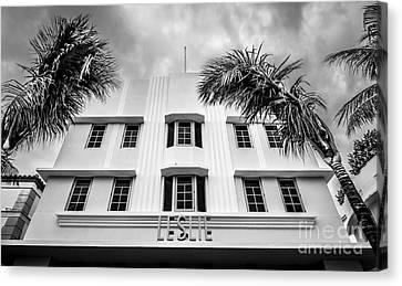 Leslie Hotel South Beach Miami Art Deco Detail - Black And White Canvas Print by Ian Monk