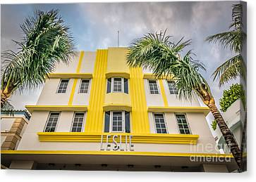 Leslie Hotel South Beach Miami Art Deco Detail - Hdr Style Canvas Print by Ian Monk