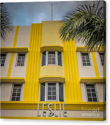 Leslie Hotel South Beach Miami Art Deco Detail - Square - Hdr St Canvas Print by Ian Monk