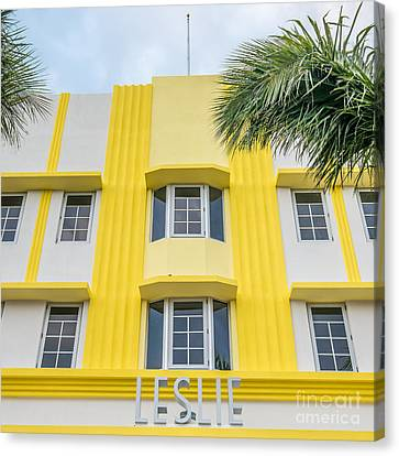 Leslie Hotel South Beach Miami Art Deco Detail - Square Canvas Print by Ian Monk
