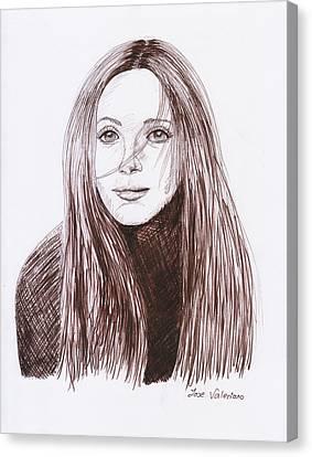 Leslie Mann Canvas Print by M Valeriano