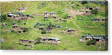 Lesotho Village On The Side Canvas Print by Panoramic Images