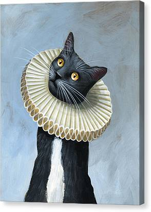 Less Is More ... Tuxedo Cat Art Painting Canvas Print by Amy Giacomelli