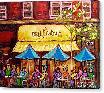 Lester's Deli Montreal Smoked Meat Paris Style French Cafe Paintings Carole Spandau Canvas Print by Carole Spandau