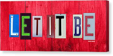 Artwork On Canvas Print - Let It Be License Plate Letter Vintage Phrase Word Artwork On Red Wood by Design Turnpike