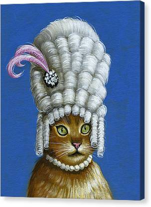 Let Them Eat Cake ... Humorous Marie Antoinette Cat Art Canvas Print