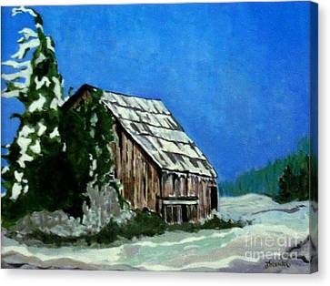 Canvas Print featuring the painting L'etable  The Barn by Joyce Gebauer