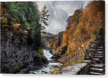 Letchworth Lower Falls Canvas Print by Peter Chilelli