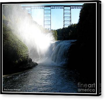 Letchworth State Park Upper Falls And Railroad Trestle Canvas Print