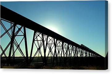 Canvas Print featuring the photograph Lethbridge Viaduct Silhouette by Trever Miller