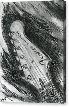 Fender Strat Canvas Print - Let's Play The Blues by Roz Abellera Art