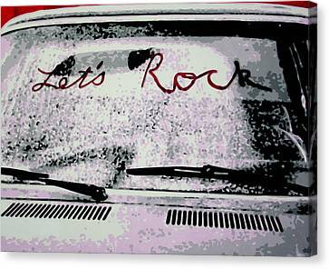 Canvas Print featuring the painting Lets Rock by Luis Ludzska