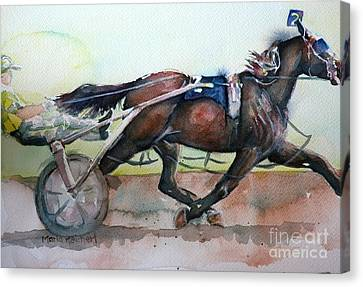 Racehorse Painting In Watercolor Let's Roll Canvas Print by Maria's Watercolor