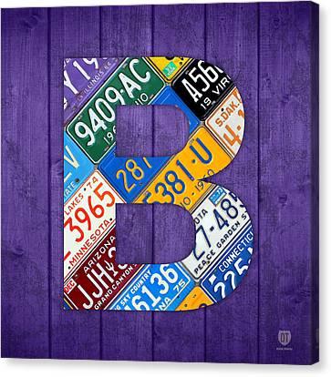 Letter B Alphabet Vintage License Plate Art Canvas Print by Design Turnpike