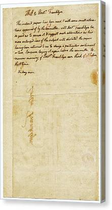 Letter From Jefferson To Franklin Canvas Print by American Philosophical Society
