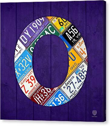 Letter O Alphabet Vintage License Plate Art Canvas Print by Design Turnpike