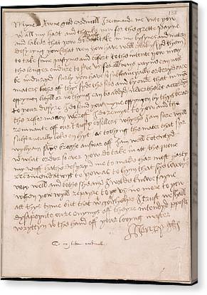 Letter Of Henry Viii Canvas Print by British Library