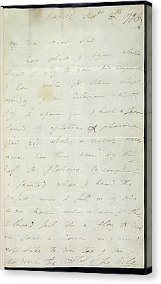 Letter Of Lady Hamilton Canvas Print by British Library