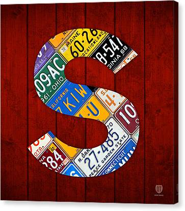 Letter S Alphabet Vintage License Plate Art Canvas Print by Design Turnpike