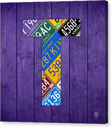 Letter T Alphabet Vintage License Plate Art Canvas Print by Design Turnpike