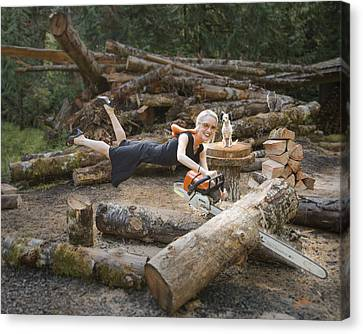 Levitating Housewife - Cutting Firewood Canvas Print
