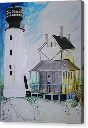 Lewes 1926 Lighthouse Canvas Print by Leslie Byrne