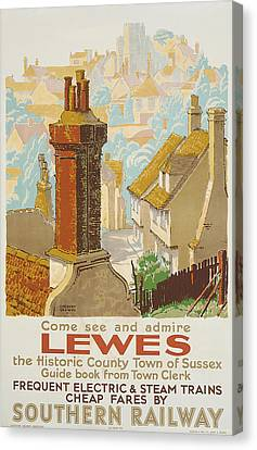 Lewes Poster Advertising Southern Railway Canvas Print by Gregory Brown