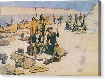Lewis And Clark At The Mouth Of The Columbia River Canvas Print by Frederic Remington