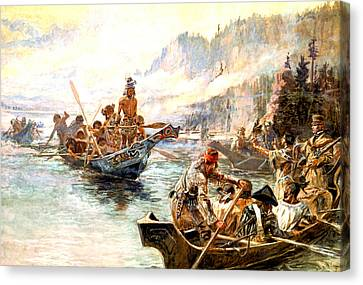 Lewis And Clark On The Lower Columbia  Canvas Print by Charles Russell
