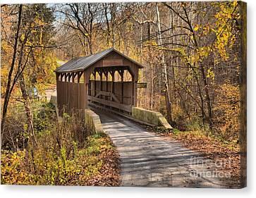 Lewisburg West Virginia Covered Bridge Canvas Print by Adam Jewell