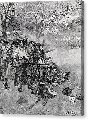 Lexington Green - If They Want War, It May As Well Begin Here, Engraved By F.h. Wellington Canvas Print by Howard Pyle