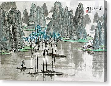 Canvas Print featuring the photograph Li River In Spring by Yufeng Wang