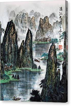 Canvas Print featuring the photograph Li River by Yufeng Wang